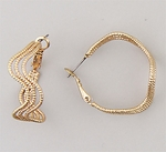 Earring brushed gold triple wave wire joint and catch hoop
