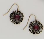 earring French hook gold rope circle setting red stone center