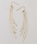 Earring Gold French hook with gold spray drop and crystal accents