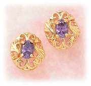 earring gold posted lace setting with purple cubic Zirconia