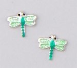 Earrings silver and green dragonfly
