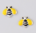 Earrings silver black and yellow bumble bee