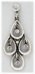 Earrings silver crystal posted ball with antique silver 4 open teardrop drop and crystal accents