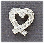 Earring Silver Crystal open Heart Posted