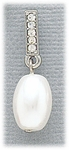 Earrings silver posted crystal bar and white pearl drop