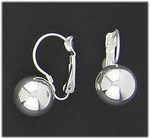 Earring Silver euro clasp 12 millimeter ball