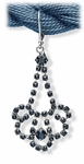 Earring Silver Euro Clasp Black Crystal Teardrop Chandelier