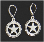 Earring silver euro clasp Texas star drop