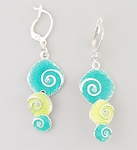 Earring silver euro clasp with lime and turquoise drops