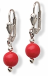 Earring silver Euro Clasp with red and silver bead drop