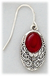 Earring Silver French hook antique silver oval setting with red stone