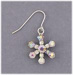 Earring silver French hook aurora borealis crystal snowflake