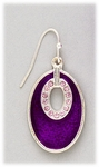 Earring silver French hook purple oval with pink crystal accents