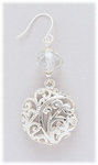 Earring Silver French hook with crystal bead & round filigree drop