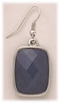 Earring Silver French hook with grey rectangle drop