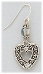 Earring Silver French hook with heart drop and crystal accents