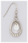 Earring Silver French hook with teardrop shape drop and crystal accents