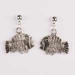 Earring silver posted ball with ring antiqued fish drop