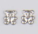 Earring silver stainless steel posted small teddy bear