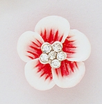 Earring white pink sparkle 3d flower with crystals in center