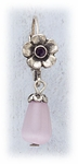 Earrings Antique Silver Euro Clasp Flower Pink Cats Eye Drop