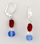 earrings euro clasp lever back silver with read & blue crystal beads