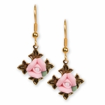 earrings Gold Cross Gothic antique with pink flower on French hook