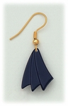 Earrings Gold French Hook navy blue large arrow