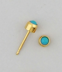 earrings posted Gold Turquoise Treasures simulated gemstone 3mm