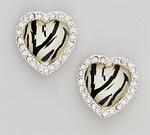 Earrings posted silver heart with zebra stone and crystal accents
