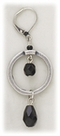Earrings silver euro clasp antiqued circle & black faceted beads