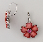 earrings silver euro clasp flower faceted pink crystal petals
