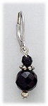 earrings silver euro clasp lever back genuine onyx bead drops
