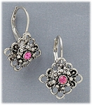 earrings silver euro clasp lever back lace square pink crystals