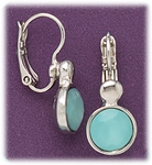 earrings silver euro clasp lever back milky aqua round drop