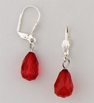 earrings silver euro clasp lever back with faceted Red Teardrop bead