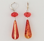 Earrings silver euro clasp lever back with two tone orange bead