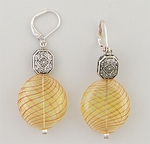 Earrings Silver Euro Clasp Yellow Orange Glass Antique Silver Beads