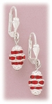 earrings silver euro clasp with hanging red accent silver oval drop