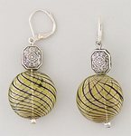 Earrings Silver Euro Clasp Lime Purple Glass Antique Silver Beads
