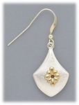 Earrings silver French hook brushed drop silver flower accent