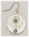 Earrings silver French hook white shell disk silver hoops blue beads