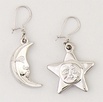 earrings silver French hooks with hanging smiling sun & moon