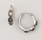 earrings silver joint & catch hoop with 3 purple crystal stones