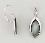Earrings silver lever back euro clasp black lip shell inset stone