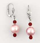 earrings Stainless Steel Beads ruby & mauve dangle Euro-clasp