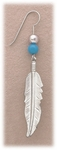 earrings Stainless Steel Feather with beads on French hook wire