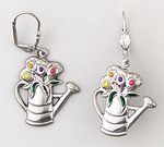 earrings Stainless Steel Watering Can with flowers dangle euro clasp