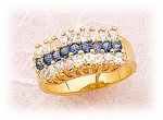 gold Cubic Zirconia blue band ring