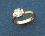 Gold cubic zirconia square setting ring
